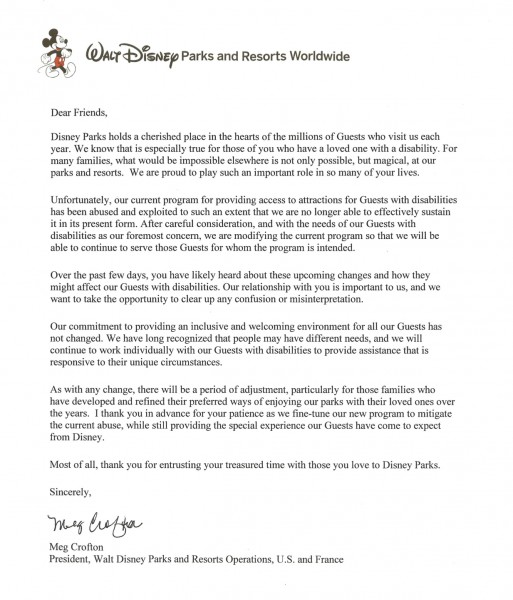 Letter, disney's new guest with disability